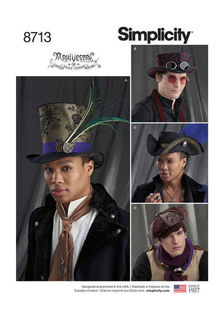 Simplicity Pattern 8713 Mens Hats Steampunk ArkiVestry Size 21 22 23 New