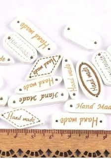 5 X Handmade Tags White