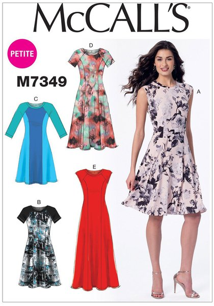 317859509cfe MISSES  MISS PETITE DRESSES  Pullover fit and flare dresses (close-fitting  through bust) have neck band